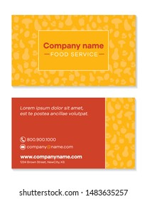 Food Service company business card template front and back Font is Galyon