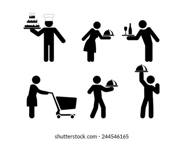 food service people, waiters icon vector illustration isolated on white background