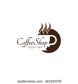 Food service vector logo. coffee shop. dining restaurant cafeteria. design template