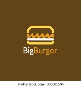 Food service vector logo. Fast food, burger, restaurant and cafe logo in brown background. design template