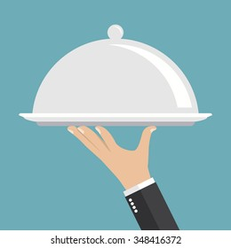 Food serving tray. Silver tray in hand waiter. Vector illustration, flat style.