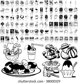 Food set of black sketch. Part 8-0. Isolated groups and layers.
