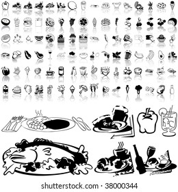 Food set of black sketch. Part 3-0. Isolated groups and layers.