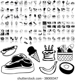 Food set of black sketch. Part 2-0. Isolated groups and layers.