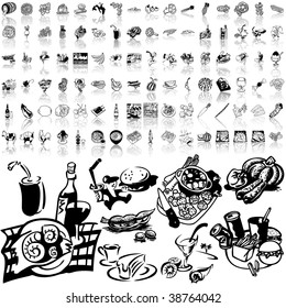 Food set of black sketch. Part 9-1. Isolated groups and layers.