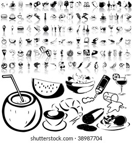 Food set of black sketch. Part 4-2. Isolated groups and layers.