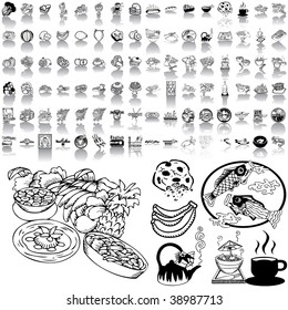 Food set of black sketch. Part 1-2. Isolated groups and layers.