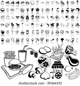 Food set of black sketch. Part 3-3. Isolated groups and layers.