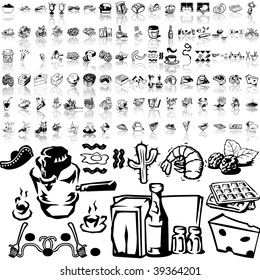 Food set of black sketch. Part 6-3. Isolated groups and layers.