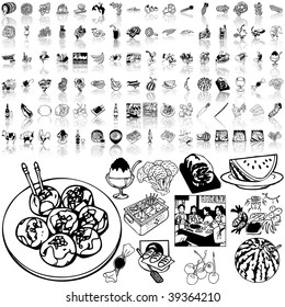 Food set of black sketch. Part 9-3. Isolated groups and layers.