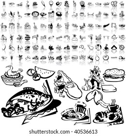 Food set of black sketch. Part 5-6. Isolated groups and layers.