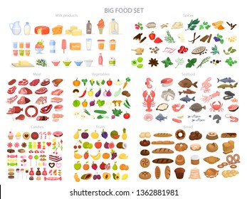 Food set. Collection of various meal, fish and meat, vegetables and bread. Healthy fresh nutrition. Ingredients for cooking. Vector illustration in cartoon style