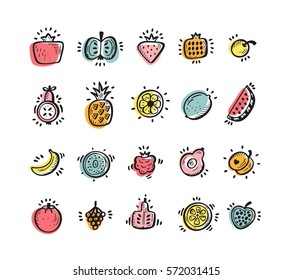 Food set. Doodle Fruits and Berries icons. Vector illustration
