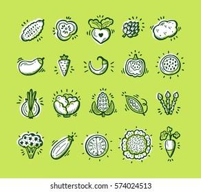 Food set. Doodle Vegetables icons. Vector illustration