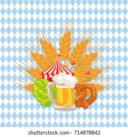Food set of german bakery, baked snacks, beer and its symbols which is ear of wheat, hop and attractions on checkered background vector illustration