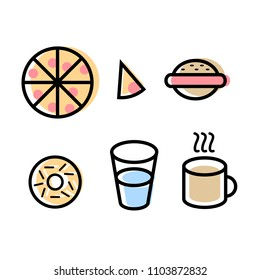 Food Set Icons Vector, Flat Design