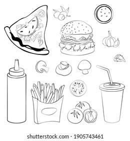 Food set line art for coloring food black contour, pizza slice with ham, bottle for spices and vegetables