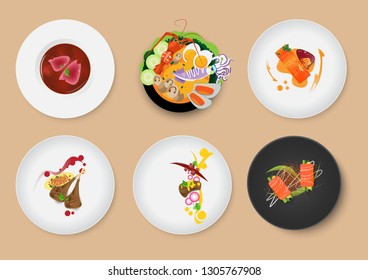 Food set menu with meat and sauce,Sushi,River prawn spicy soup(Tom Yum Goong) on cream background.