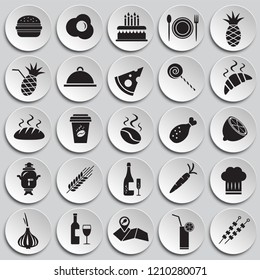 Food set on circles on plates background icons