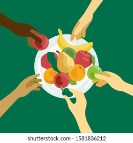 Food sharing illustration. Human hands with fruits. People of different nationalities take food from plate. Design for charity, volunteer organization, restaurant or cafe. Background for flyer, banner