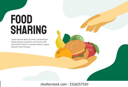 Food sharing project. Vector illustration of share meal, waste reduction, giving helping hand for the poor or refugees. Design for charity, volunteer organization. Handful of food. Template for flyer.