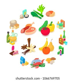Food shopping icons set. Isometric illustration of 16 food shopping vector icons in circle for web