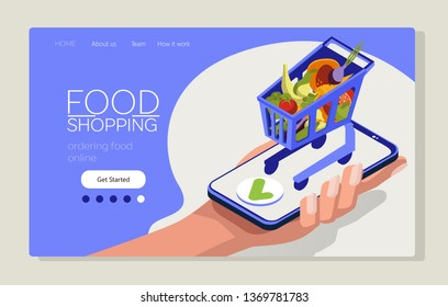 Food shopping online. Isometric shopping cart on a smart phone. Mobile app for online shopping. Web page template