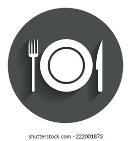 Food sign icon. Cutlery symbol. Knife and fork, dish. Circle flat button with shadow. Modern UI website navigation. Vector