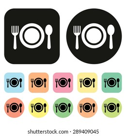 Food sign. Food symbol. Food icon. Spoon and Fork icon. Dish icon. Vector