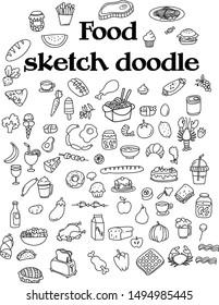 Food sketch Doodle icon set