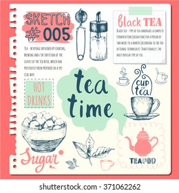 Food sketchbook with homemade tea party illustrations. Cup, sugar bowl, spoon and teapot in sketch style. Traditions of teatime. Decorative elements for your design.