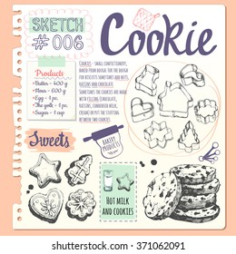 Food sketchbook with set of different cookies. Figure, forms and biscuits with chocolate in sketch style. Vector illustration of fresh organic baking with cooking recipe.