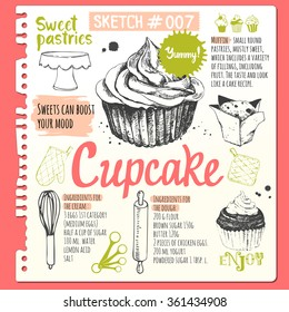 Food sketchbook with set of muffins and cupcakes in sketch style. Vector illustration of fresh organic baking with cooking recipe. Dessert pastries.