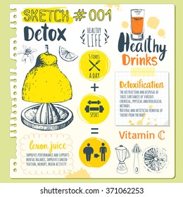 Food sketchbook. Useful drinks in sketch style.Vector illustration with natural juices beverages: smoothies, lemonade and kitchen equipment. Detox. Healthy lifestyle.