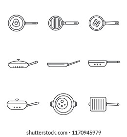 Food skillet icon set. Outline set of food skillet vector icons for web design isolated on white background