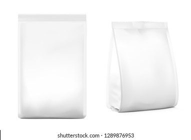 Food snack bags isolated on white background. Front and side view. Vector illustration. Can be use for template your design, presentation, promo, ad. EPS10.