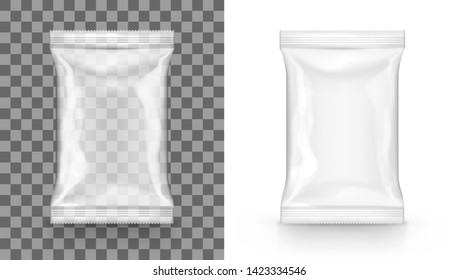 Food Snack Glossy Transparent Pillow Bag Isolated On White. EPS10 Vector