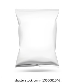 Food snack pillow bag isolated on white background. Vector illustration. Can be use for template your design, promo, adv. EPS10.