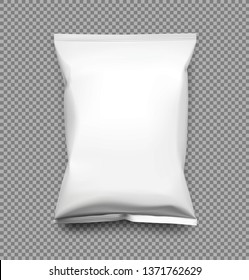 Food snack pillow bag isolated on transparent background. Vector illustration. Can be use for template your design, promo, adv. EPS10.