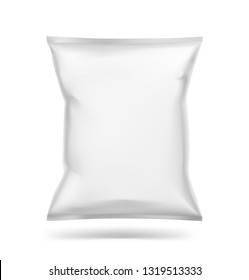 Food snack pillow bag mockup. Vector illustration isolated on white background. Can be use for template your design, promo, adv. EPS10.