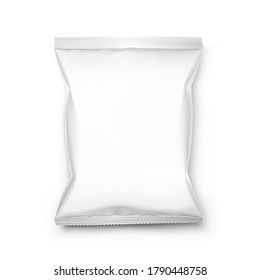 Food snack pillow bag mockup on white background. Vector illustration. Can be use for template your design, promo, adv. EPS10.