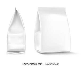Food snack pillow bag on white background. Front and side views. Vector illustration. Can be use for template your design, promo, adv. EPS10.