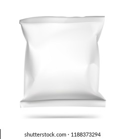Food snack pillow bag on white background. Vector illustration. Can be use for template your design, promo, adv. EPS10.