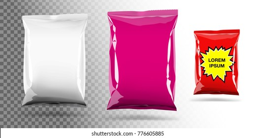 Food snack pillow bag on transparent background. Vector illustration. Can be use for template your design, promo, adv.