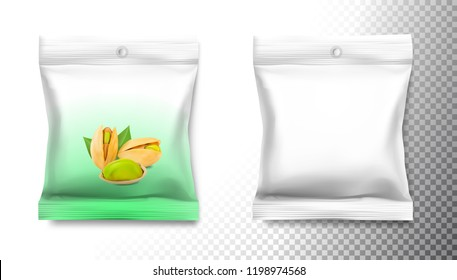 Food snack pillow bag with pistachios  isolated on white background. Vector illustration. Can be use for template your design, promo, adv. EPS10.