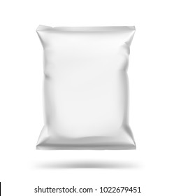 Food snack pillow bag. Vector illustration isolated on white background. Can be use for template your design, promo, adv. EPS10.