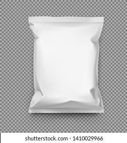 Food snack pillow bag. Vector illustration. Packaging mockup ready for your design. Can be use for schips, snack, coffee, tea, salt, flour and etc. EPS10.