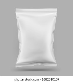 Food snack pillow bag. Vector illustration on grey background. Packaging mockup ready for your design. Can be use for schips, snack, coffee, tea, salt, flour and etc. EPS10.