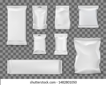 Food and snacks empty vacuum packages isolated on transparent. Vector empty packs, containers mockups to storage food products. White packets, blank sugar sticks and candies cover, disposable packets