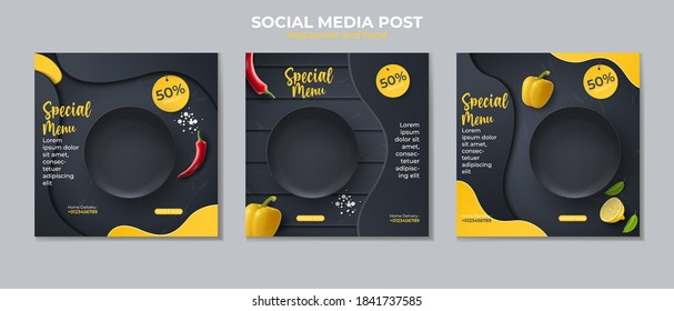 Food social media post template. vector illustration with plate, peppers, chilies.